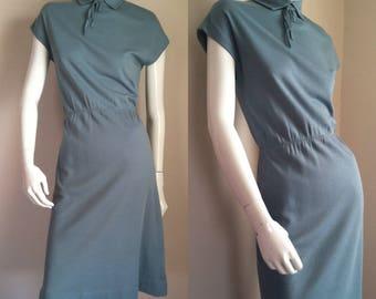 sale --- Vintage 1970s Seafoam Knit Day Dress