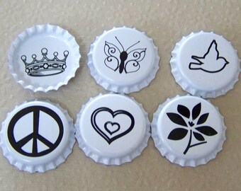 Bottle Caps Black and White Double Sided for Pendants, Necklaces, Jewelry
