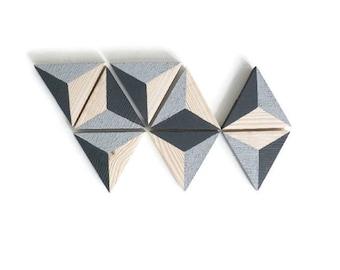 Wall decor, set of 8 triangles trompe l'oeil, Scandinavian inspired