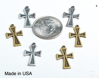20mm Gothic Cross w/ring, Antiqued Gold, pk/6