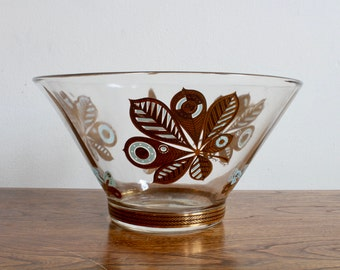 Mid Century, MCM, Retro Georges Briard Punch Bowl, Serving Bowl, Salad Bowl, Turquoise and Gold Butterfly and Leaf Design