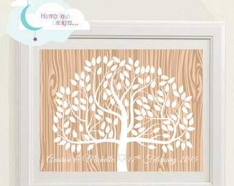 Wedding Tree, 120 Signatures 16 x 12 inchs, Woodgrain, Custom Digital Download, Personalised, Guests