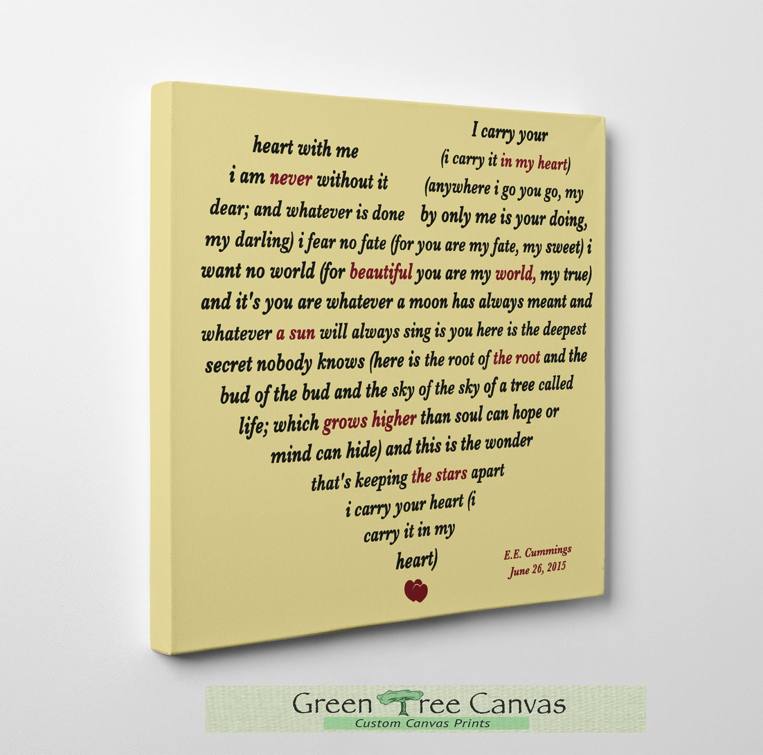 Generous Ee Cummings I Carry Your Heart Wall Art Images - The Wall ...