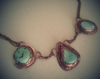 Sold / Genuine Turquoise & Copper Necklace / Copper Jewelry