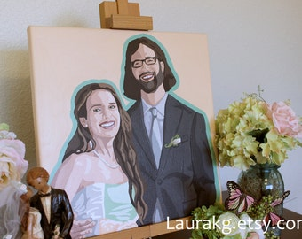 Wedding Portrait Hand Painted PopArt Custom 14x14 Painting  of Two
