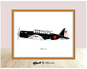 Aeroplane print Sukhoy Su2, airplane decor, airplane themed wall art, digital download planes nursery, fighter aircraft art, printable art