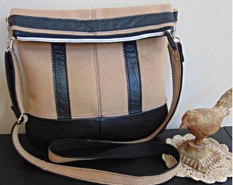 Fold Over Cross Body Wool & Leather Messenge Bag, Repurposed Sustainable Sewing
