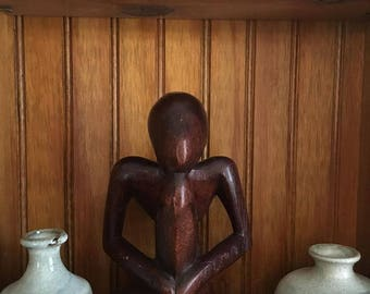 Vintage Hand Carved Wood Thinker Meditate Yoga Prayer  Abstract Art