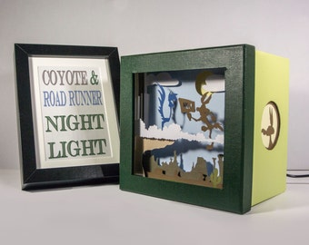 Wile Coyote and Road Runner shadow box with light - Special night light, unique special gift, kids room night light, cartoon home decor