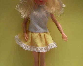 Vintage Sindy Doll with Handmade Vintage Dress Polyester