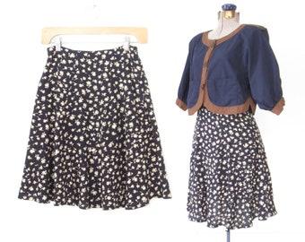 90s mini skirt * vintage flirty skirt * floral skirt * 90s skirt * highwaist skirt * xs