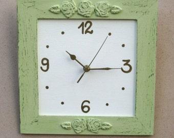 Light Green Wall Clock Shabby Chic Home Decor