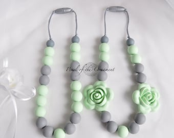 Mint green gray Teething necklace nursing necklace silicone necklace sensory necklace girls baby toddler moms women flower chew chewelry