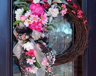 Shabby Chic wreath, Spring wreaths for front door, Spring door wreaths, Summer wreath, Mother's Day gift, Grapevine wreath, Garden wreath