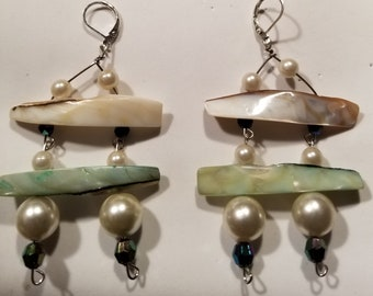 Handcrafted Ivory Green Mother of Pearl Shell Faux Pearl Dangle Earrings