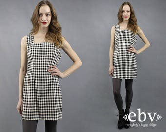 90s Dress 90s Plaid Dress Gingham Dress 90s Mini Dress 1990s Dress 90s Party Dress Plaid Mini Dress Schoolgirl Dress Black + White Dress M