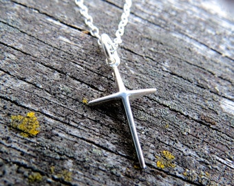 cross necklace, sterling silver cross, Christian cross, Christian cross necklace, small necklace, Christian jewelry, Christian jewelry
