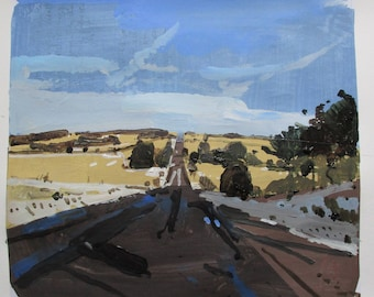 Westbound, Original Winter Landscape Collage Painting on Paper, Stooshinoff