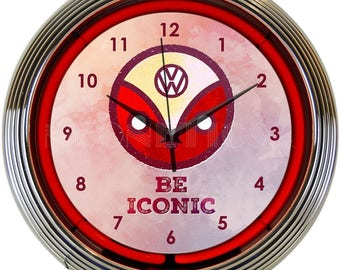 "Antique Style "" Volkswagen - Be Iconic Logo "" Neon Clock"