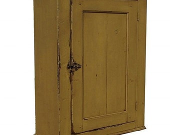 Primitive painted wall cupboard hanging medicine cabinet mustard rustic Colonial Early American country farmhouse furniture