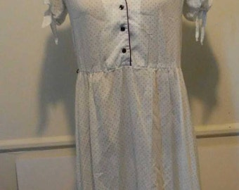 1950's  White and Blue polkadot Dress