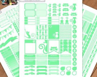 Emerald CAT Planner Stickers Printable, Erin Condren Stickers, Monthly/Weekly Kit, Printable Sampler, Erin Condren, Instant download