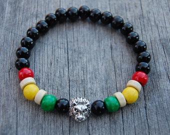 Lion Bracelet,Rasta Reggae Bracelet,Mens Lion Bracelet,Wood 8mm Beads,Lion head,Gift for Him,Bracelet for Men,Leo Lion Bracelet,Man
