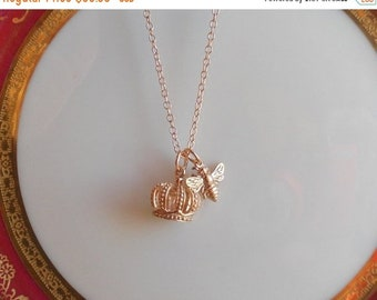 ON SALE Rose Gold Bumble Bee Necklace - Rose Gold Bee Necklace, Queen Bee Necklace, Rose Gold Crown Necklace,  Gold Bee Necklace, Sterling B