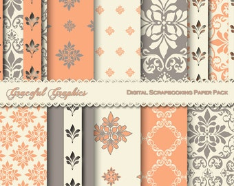 Scrapbook Paper Pack Digital Scrapbooking Background Papers DAMASK 10 8.5 x 11  Orange Gray White FRench Fleur 1215gg