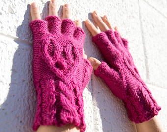 Women's hot pink half-finger heart gloves, gift for her, wool knit gloves, fingerless gloves, texting gloves, smoking gloves, hearts