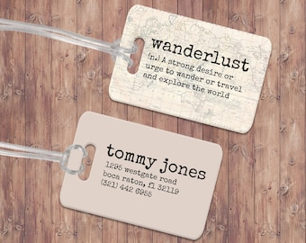 Wanderlust Luggage Tag - Custom Metal Luggage Tag - Personalized Luggage Tag - Travel Tag - Travel Accessory - Gift for traveler