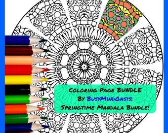 Spring Mandala BUNDLE 1 Adult Coloring Pages Pack Of 4 Beautiful Designs Relaxation