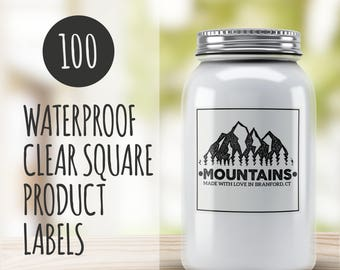 Clear Labels - 100 Clear Custom Square Stickers- Square Vinyl Stickers- Waterproof