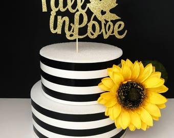 Fall in Love cake topper- anniversary cake topper- bridal shower cake topper- wedding cake topper- Fall cake topper- Love cake topper