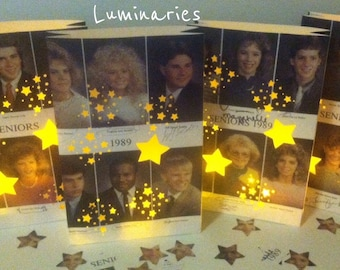 Yearbook Luminary, 1 Custom Made, Using Your Yearbook Pages, High School, College, Reunions, Retro, Yearbook, Vintage Yearbook