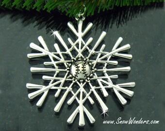 Baseball SnowWonders® Snowflake Ornament/Pendant, Baseball Decor, Baseball Package Decoration, Baseball Fan Gift, Softball ornament
