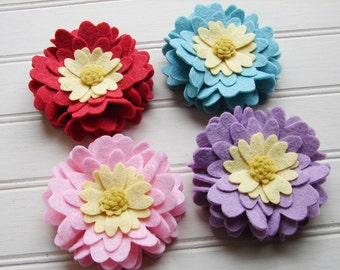 Wool Felt Flowers - Heart Petal Flowers Set of 4