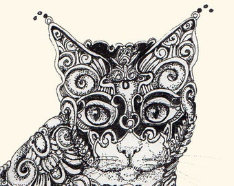 Pen & Ink Drawing, Artist Cat Print, Cat Print, Giclee Print, by Patricia Glasco
