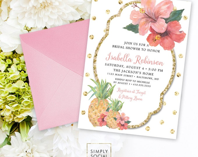 Tropical Bridal Shower Invitation - Glitter Glam Sparkling Pineapple and Hibiscus Tropical Polka Dots Bridal Shower Invitation Printable