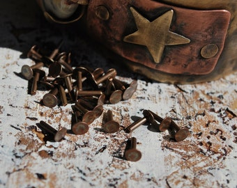"""1/4"""" Flat Head Rivets....Solid Copper, Brass, Aluminum or Sterling Silver  -Free Shipping"""