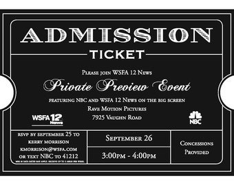 Admission Ticket Invitation 10/pk