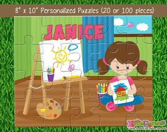 "Artist Puzzle - Personalized 8"" x 10"" Puzzle - Personalized Name Puzzle - Personalized Children Puzzle - 20 pieces Puzzle - Art Party Gift"