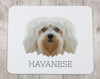A computer mouse pad with a Havanese dog. A new collection with the geometric dog