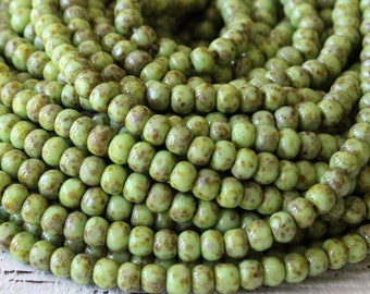 Size 6 Seed Beads - Picasso Seed Beads For Jewelry Making Supply - 6/0 3 Cut Aged Seed Beads Trica Beads - Moss Green  - Choose Amount