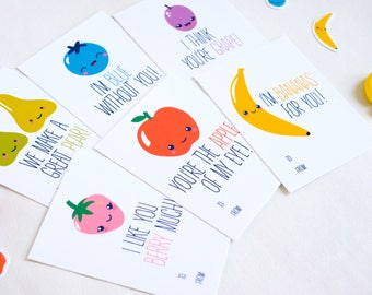 Printable Fruit Valentines (set of 10) - Kids Valentines - Classroom and Teacher Valentines / DIY