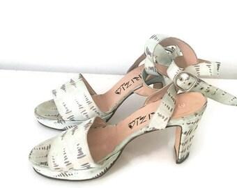 KRIZIA sandali vera pelle, sandali Krizia cinturino, sandali tacco cinturino, scarpe cinturino estate,  sandali tacco numero 39