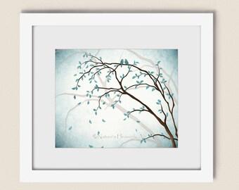 Light Blue Decor Tree Art Print 8 x 10, Living Room Wall Art, Love Birds in Tree Wall Art , Love Bird Art, Blue Aqua Wall Art (131)