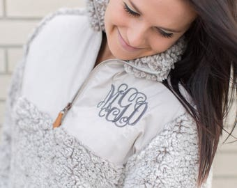 SALE Monogram Sherpa Pullover gray, personalized top, personalized sweater, monogrammed fleece shirt, Valentine's gift for her