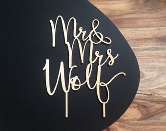 MR & MRS CAKETOPPER, wooden wedding cake topper for engagement, wedding, special occasion
