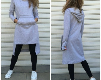 Grey long sleeves hooded top / Grey asymmetrical top / Grey loose blouse / Grey maxi top / Casual dress / EXPRESS SHIPPING